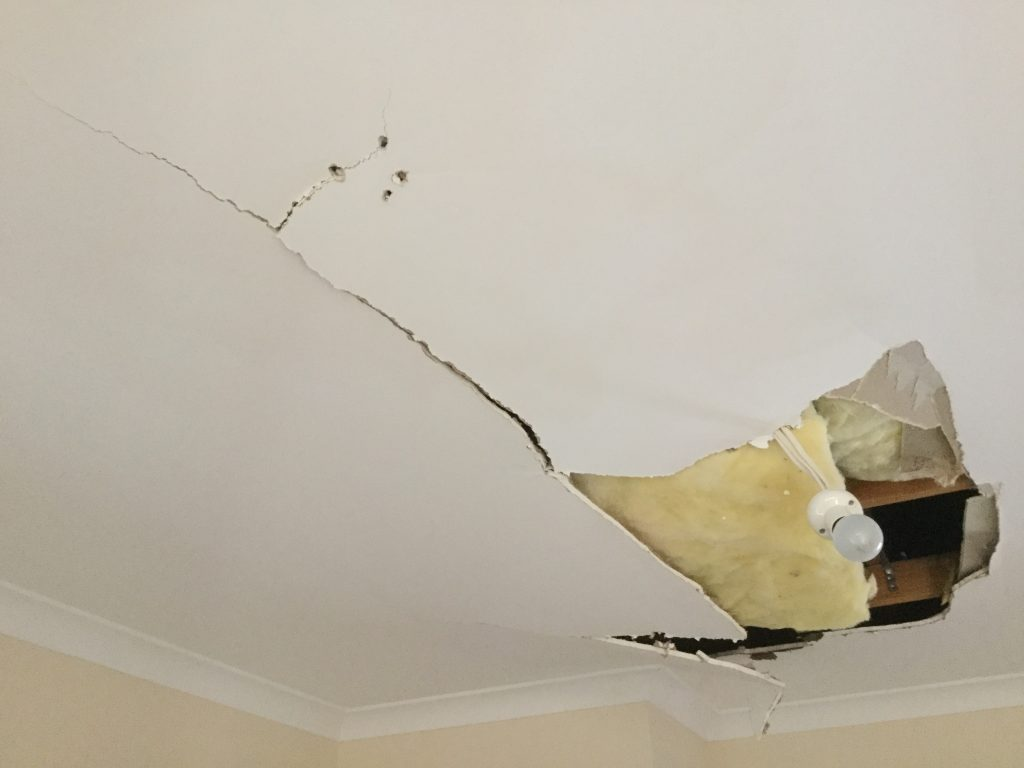 Cracked ceiling replacement cost example for WA