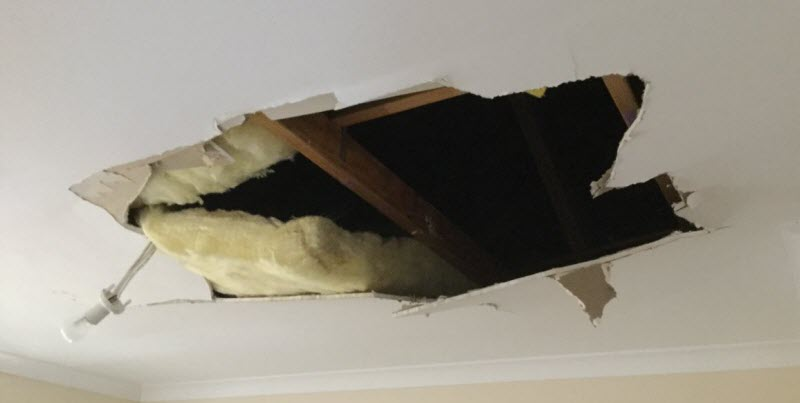 Before ceiling repairs at A1